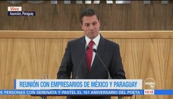EPN se reúne con empresarios mexicanos y paraguayos