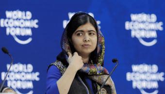 Malala Yousafzai en el Foro de Davos, Suiza. (AP)