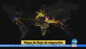Mapa del flujo de migración en el mundo