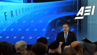 Mike Pompeo en el centro de estudios American Enterprise Institute
