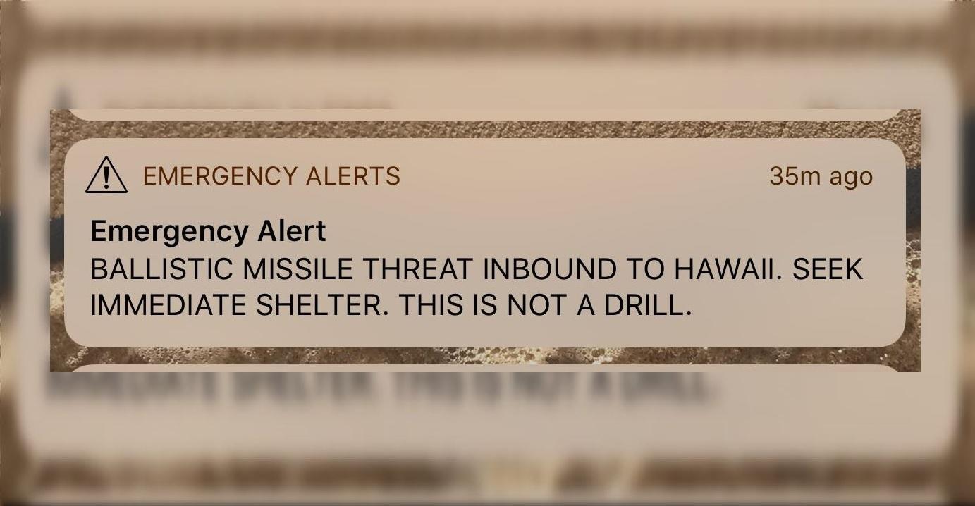 Reciben falsa alerta de ataque de misiles en Hawái