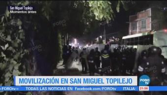 Movilización en San Miguel Topilejo en Tlalpan