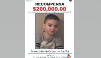 Ofrecen recompensa por el menor James Martin Camacho Padilla