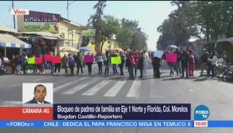 Padres de familia bloquean Eje 1 Norte y Florida, CDMX