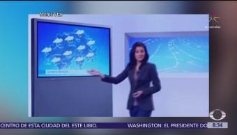 Presentadora del clima se cae en vivo