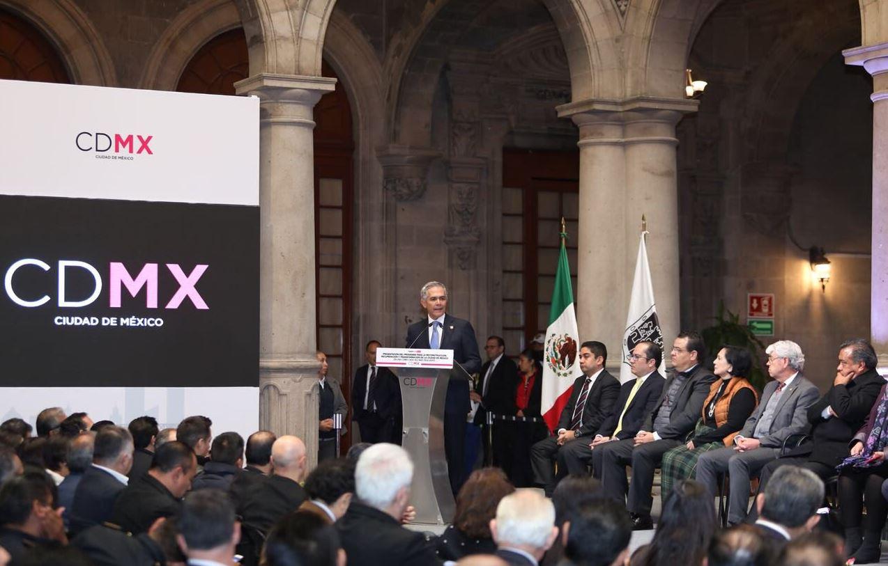 Mancera presentan plan de reconstrucción de la CdMx