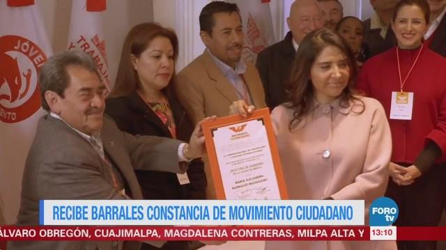 Recibe Alejandra Barrales constancia de Movimiento Ciudadano
