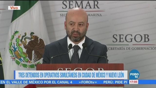 Renato Sales informa sobre la captura de tres hombres en Nuevo León y la CDMX