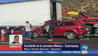 Reportan dos accidentes en la carretera y la autopista México-Cuernavaca