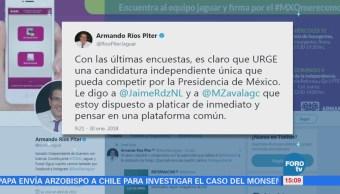 Ríos Piter plantea candidatura única independiente