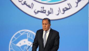 Serguei Lavrov durante discurso sobre la paz en Siria