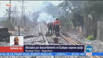 Siguen los trabajos para rehabilitar vías tras descarrilamiento de tren en Ecatepec