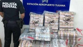 Aseguran 90 millones de pesos en efectivo en el aeropuerto de Tijuana