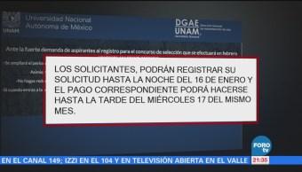 UNAM amplía plazo para registro