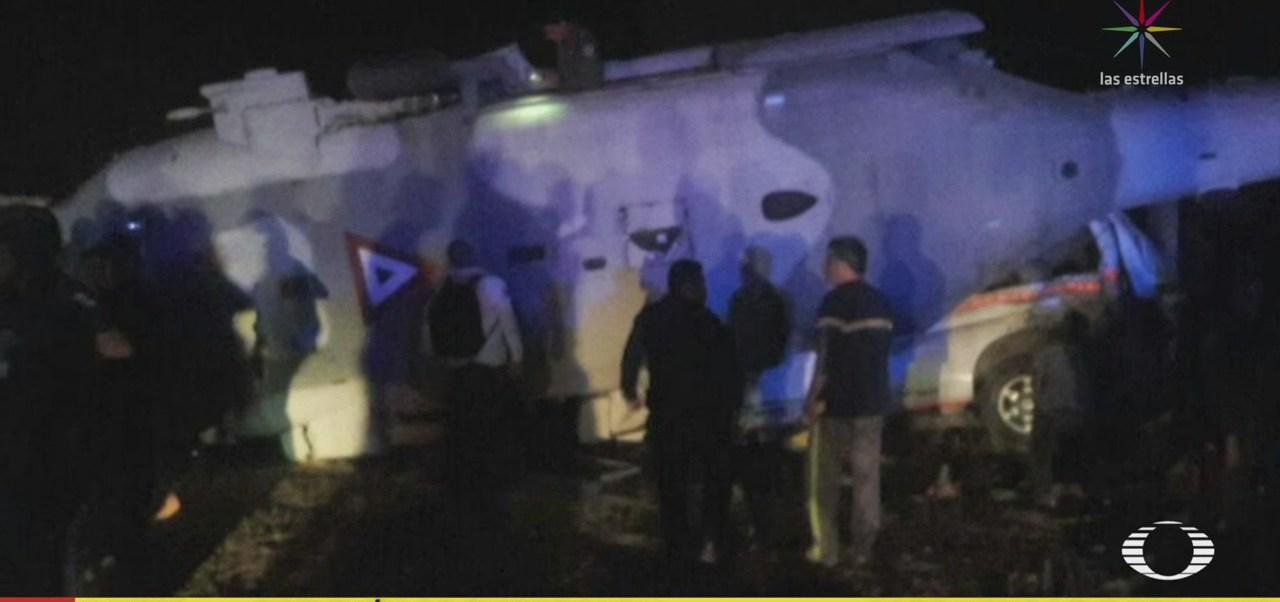 Accidente de helicóptero militar se desplomó antes de aterrizar
