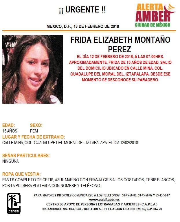Alerta Ámber para localizar a Frida Elizabeth Montaño