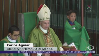 Carlos Aguiar Retes pide evitar discriminación durante primera misa dominical como arzobispo
