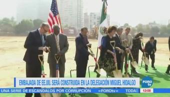 Colocan primera piedra de la nueva embajada de Estados Unidos en México