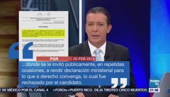 Comunicado de la PGR en relación a Ricardo Anaya