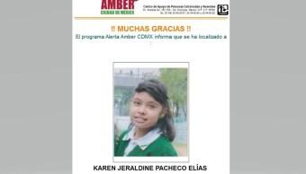 Desactivan Alerta Ámber para localizar a Karen Jeraldine