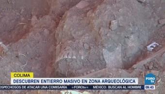 Descubren entierro masivo en zona arqueológica en Colima