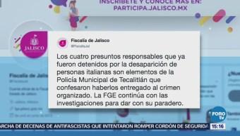 """Detienen a dos integrantes del crimen organizado en Namiquipa, Chihuahua En el municipio de Namiquipa, Chihuahua, fueron capturados dos integrantes del crimen organizado, se trata de Ulises Arturo Ch., alias """"El Tuto"""" y Gabriel E. M. Detienen Cuatro Policías Municipales Desaparición Italianos Jalisco"""