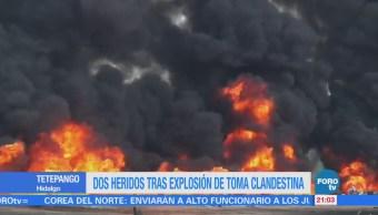 Dos heridos tras explosión de toma clandestina en Tetepango, Hidalgo