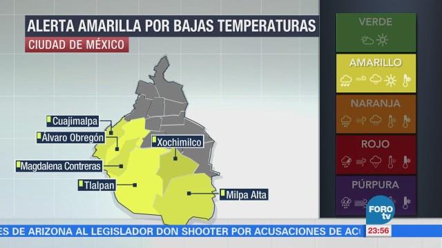 Emiten, alerta, amarilla, frío, seis delegaciones, CDMX