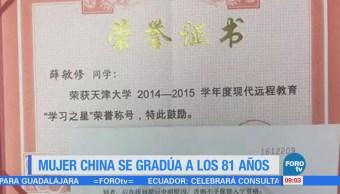 Extra Extra: Mujer china se gradúa en comercio electrónico a los 81 años