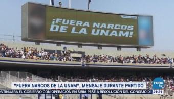 Fuera narcos de la UNAM mensaje en CU tras balacera