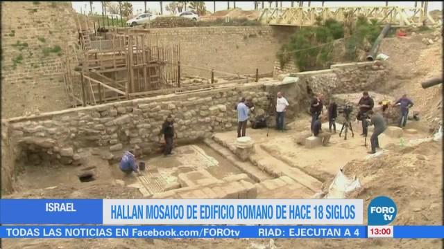 Hallan mosaico de edificio romano de hace 18 siglos en Israel