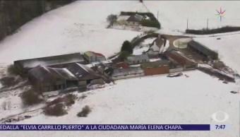 La nieve cubre varios países de Europa por frente frío procedente de Siberia