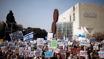 Manifestaciones en contra del primer ministro de Israel, Benjamin Netanyahu