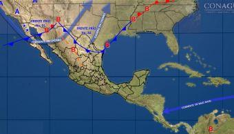 Frente frío 31 y 32 provocarán lluvias en 19 entidades de Mé