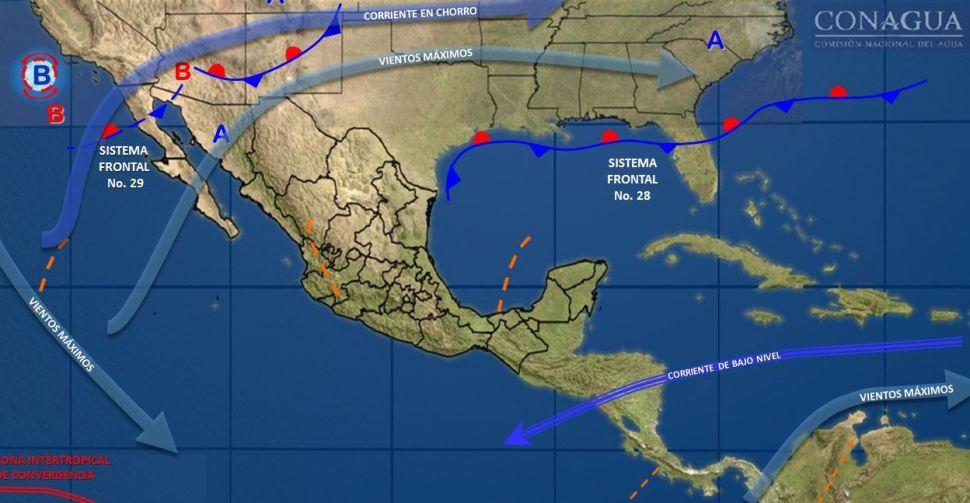 Frente frío 29 provocará lluvias México