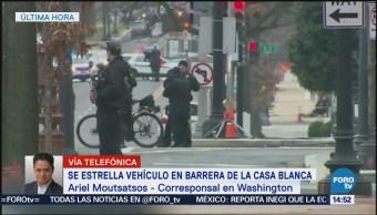 Mujer Estrella Auto Intencionalmente Contra Barrera Seguridad Casa Blanca