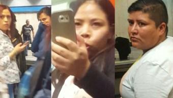 Mujeres exhibidas por robar celular en el metro