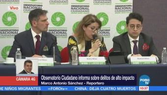 Observatorio Ciudadano rinde informe sobre delitos de alto impacto