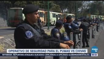 Operativo de seguridad para el partido Chivas vs Pumas en Ciudad Universitaria