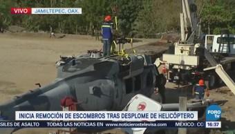 Inicia Remoción Escombros Desplome Helicóptero Oaxaca