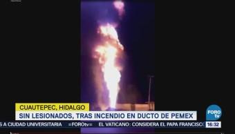 Saldo blanco tras incendio en ducto de Pemex en Cuautepec Hidalgo