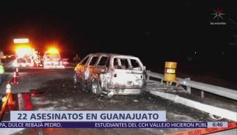 Se registran 22 homicidios dolosos el fin de semana en Guanajuato