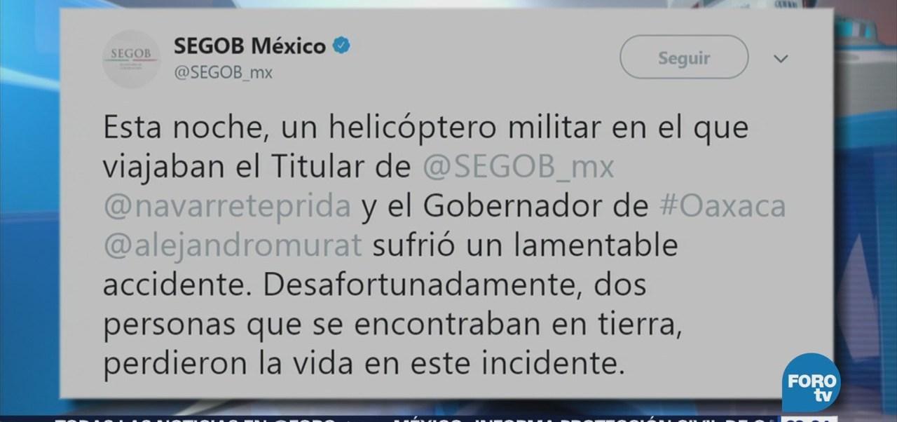 Segob confirma la muerte de dos personas por desplome de helicóptero en Oaxaca