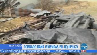 Tornado daña viviendas en Jiquipilco, Estado de México