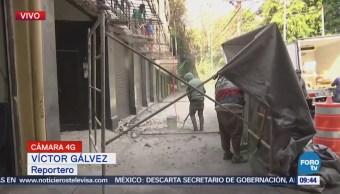 Trabajadores Reconstrucción Tiran Marquesina Afectada Sismos Cdmx