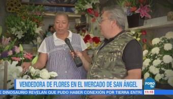 Vendedora de flores en el Mercado San Ángel