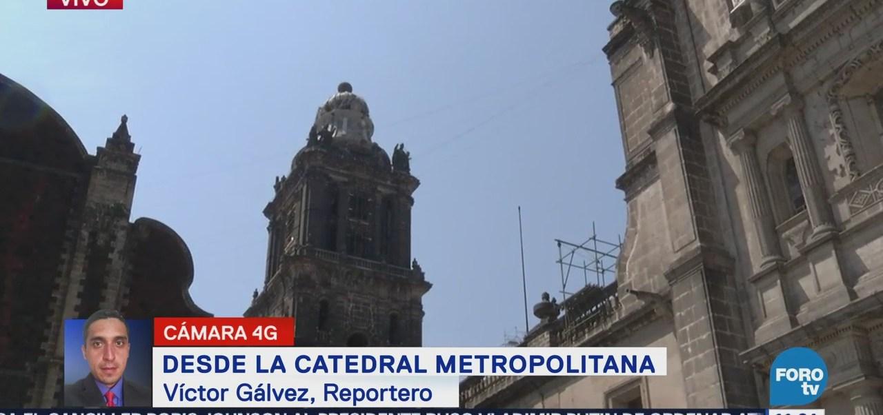 Acordonan el frente de la catedral metropolitana tras caída de rayo