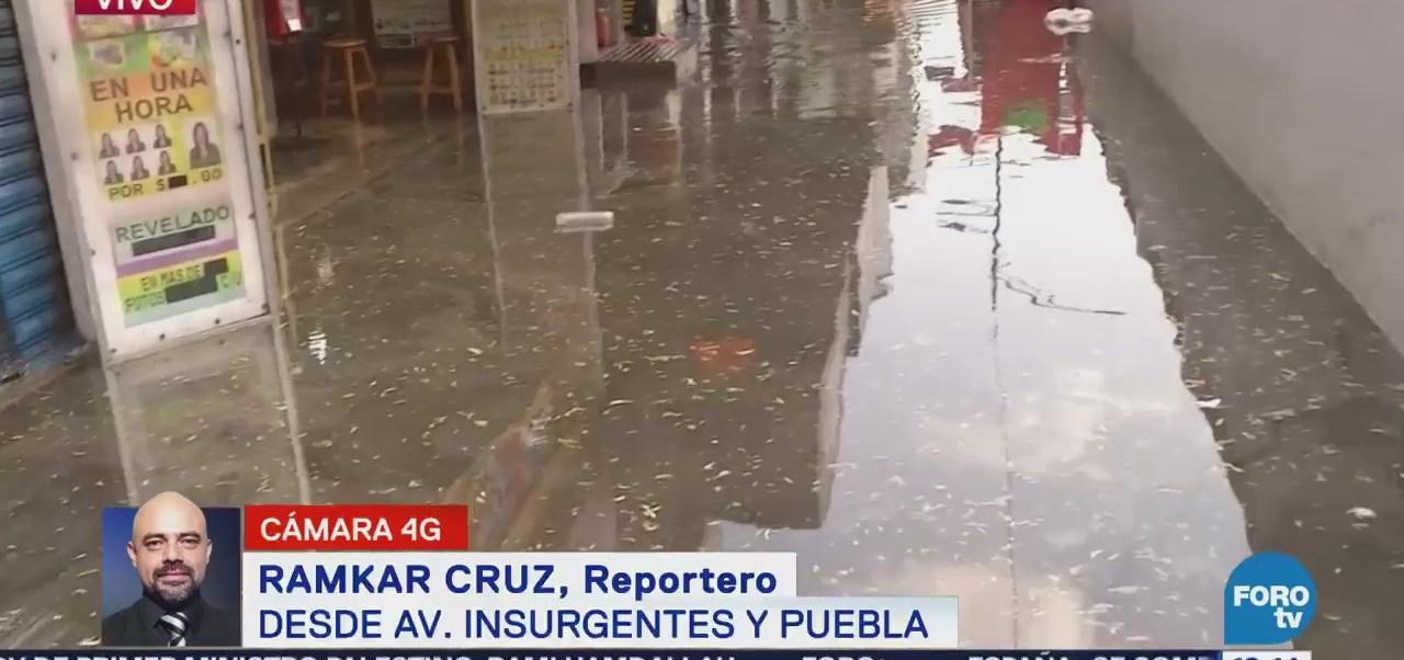 Agua acumulada impide acceso peatonal a la Glorieta del Metro InsurgentesAgua acumulada impide acceso peatonal a Glorieta del Metro Insurgentes