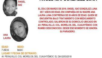 Activan Alerta Amber para localizar a madre e hijo extraviados en la Cuauhtémoc