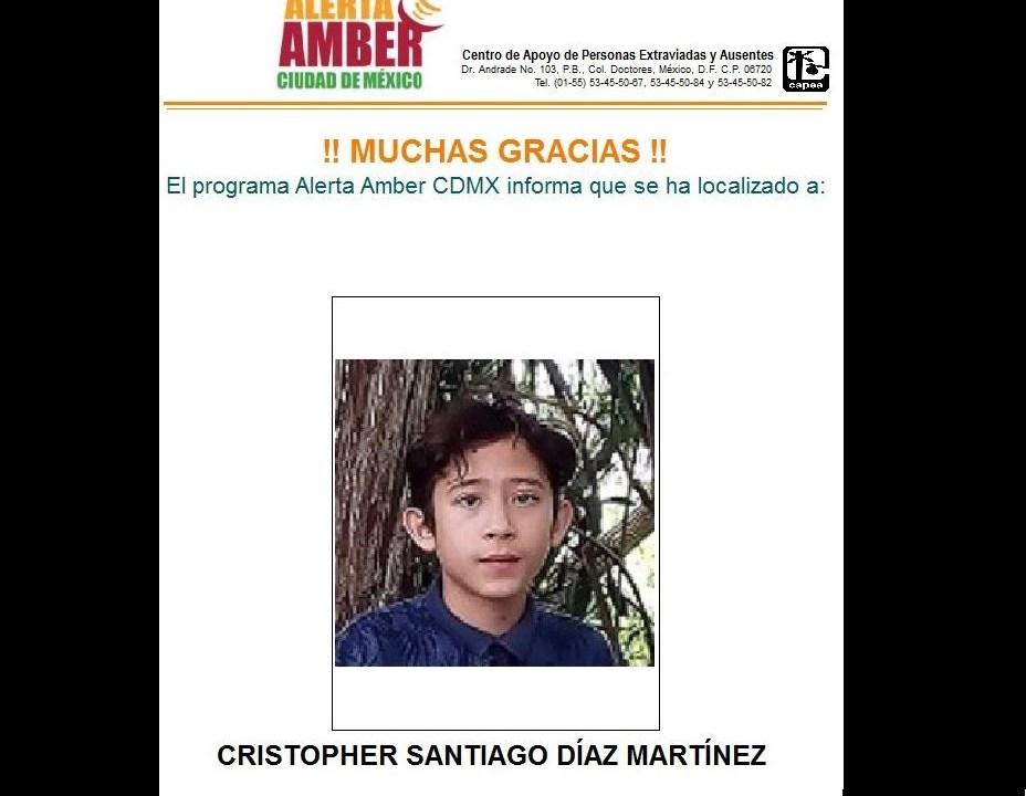 PGJ-CDMX desactiva alerta amber para localizar a menor extraviado en Álvaro Obregón